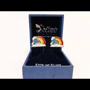 "🍄🙀 Vintage Smurf Post Earring Set .75"" each"